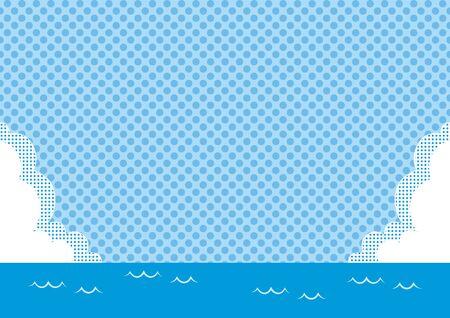 Illustration of sea, blue sky, clouds and dotted background. Ilustração