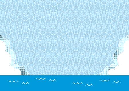 Illustration of the ocean, clouds and continuum background. Ilustração