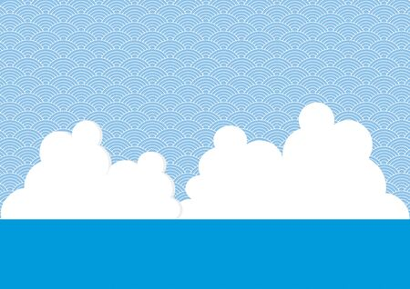 Illustration of ocean, white clouds and a continuous pattern background.  Ilustração