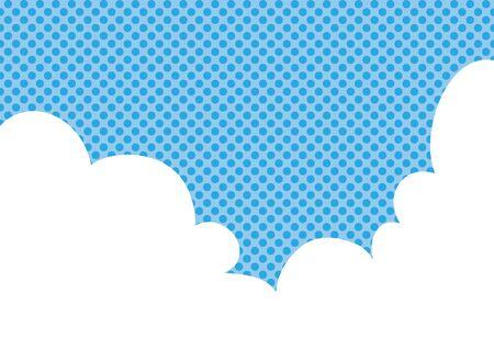 Illustration of white clouds and dotted background. Ilustração