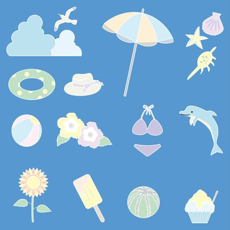 Illustration of summer item icon set. Pastel color (white line drawing) version  イラスト・ベクター素材
