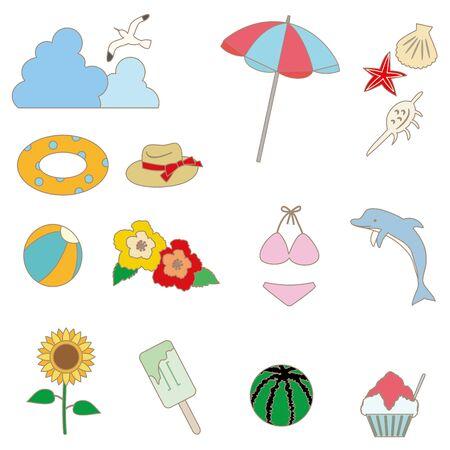 Illustration of summer item icon set. Color (with line) version  イラスト・ベクター素材