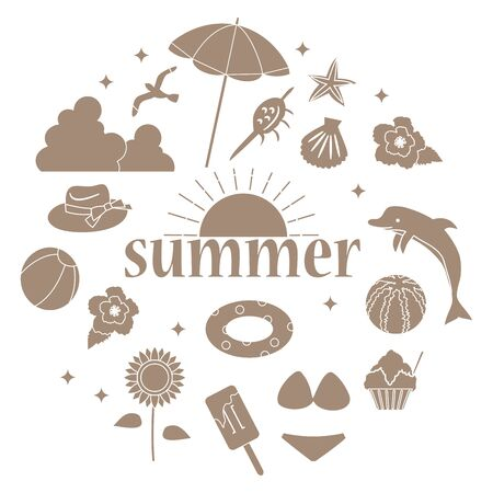 Illustration of summer item icon set. Single color version  イラスト・ベクター素材