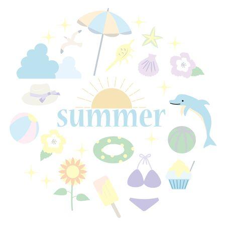 Illustration of summer item icon set. Pastel color version  イラスト・ベクター素材