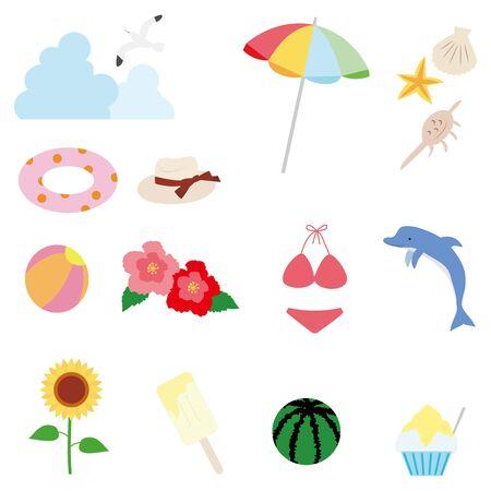 Illustration of summer item icon set. Color (no line drawing) version  イラスト・ベクター素材