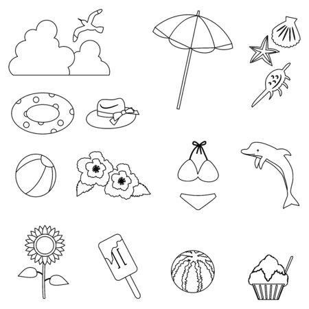 Illustration of summer item icon set. Line drawing version  イラスト・ベクター素材