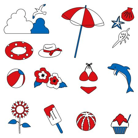 Illustration of summer item icon set. Tricolor color version  イラスト・ベクター素材
