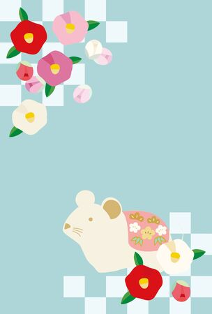 Illustration of new year card with mouse and camellia flower.