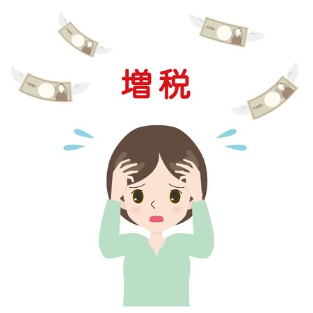 Illustration of a woman with her head gripped by an increasing tax rate.