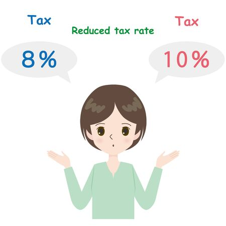 Illustration of a young woman thinking about tax rates.