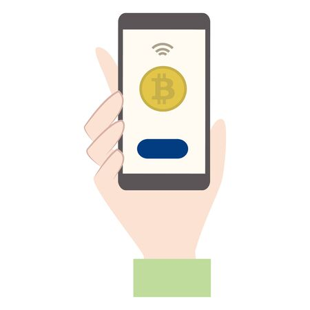 illustration of paying with bitcoin using a smartphone.  イラスト・ベクター素材