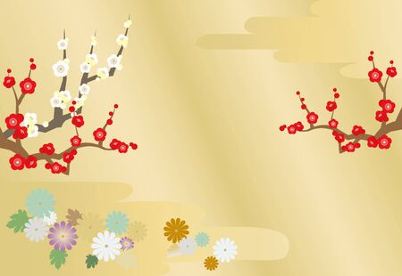 Illustration of New Years card image with plum tree and chrysanthemum, clouds and golden gradient background.