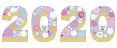 New year 2020 mouse year banner illustration. A combination of three-dimensional numbers with small rats and flowers.