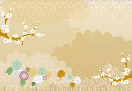 Illustration of New Years card image with chrysanthemum, plum tree and arranged clouds in the background.