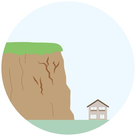 illustration of a sign of crumble,with a crack on the cliff.