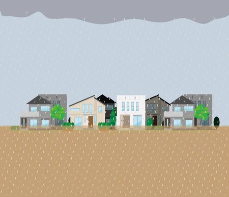 Illustration of flooding and falling rain in a residential area.