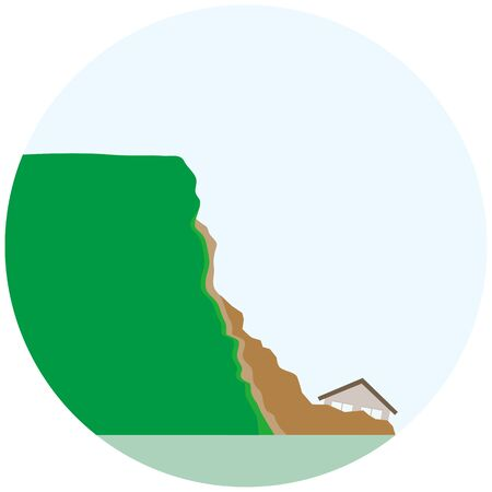 illustration of a cliff collapsed and a house buried in the soil.