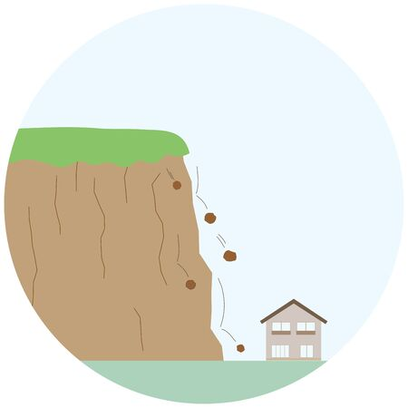 Illustration of a sign of landslide,with pebbles falling from a cliff.