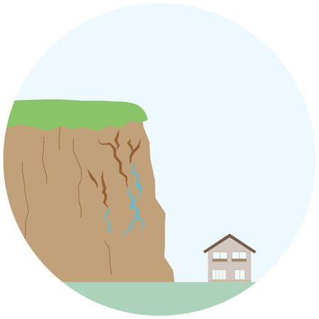 illustration of a sign of a landslide with water coming out of a crack in the cliff. Vettoriali
