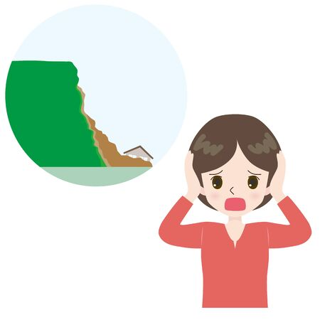 Illustration of a lamenting woman and a landslide near the house. Illustration