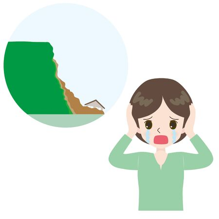 Illustration of a lamenting woman and a landslide near the house. Çizim