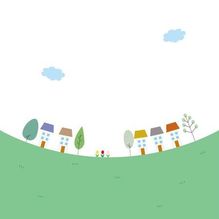 Illustration of cute trees and cityscape. 版權商用圖片 - 132010141
