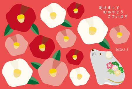 New year card illustration of mouse and camellia pattern.