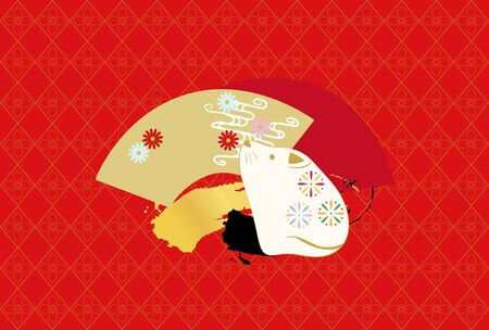 New Year's card illustration with a mouse doll and fan in Japanese patterns.