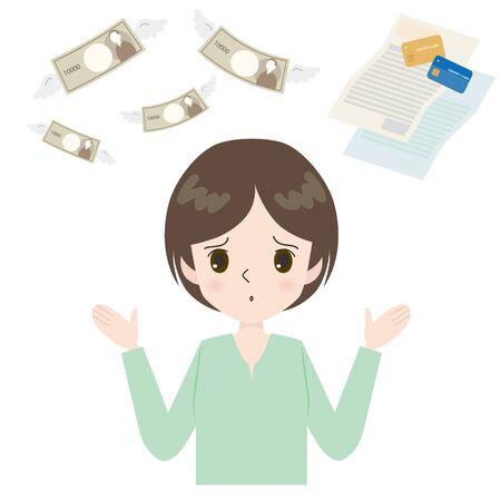 Illustration of troubled face woman with flying money and card bill.