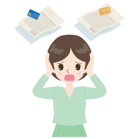 Illustration of a woman lamenting multiple credit cards and invoices.