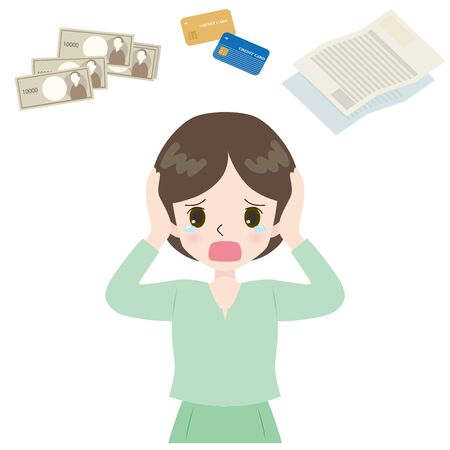 Illustration of a woman lamenting credit card and cash and bill. Stock Illustratie