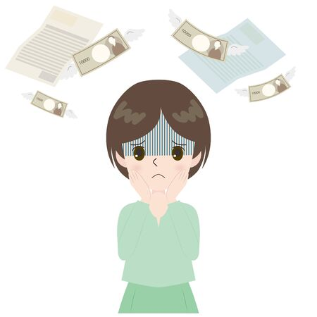 Illustration of a woman pale on invoice and flying money. Vetores