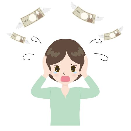 Illustration of a woman who became a crying face with flying money.