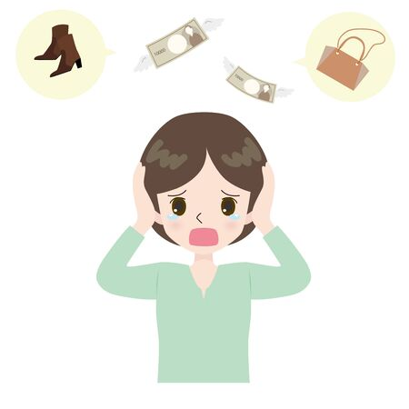 Illustration of woman crying on shoes and bag and splinter.