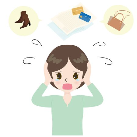 Illustration of woman crying on shoes and bag, credit card bill and scatter.