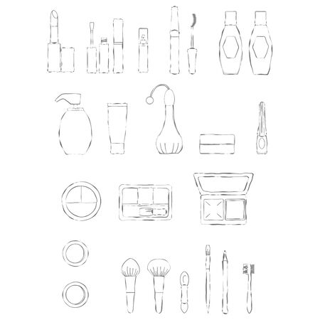 Makeup item icon set Line drawing illustration.