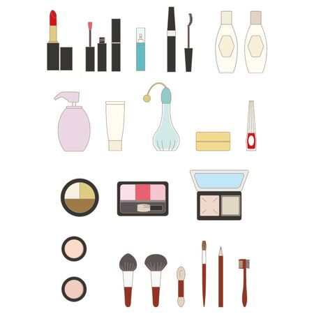 Makeup item icon set Color illustration with lines.