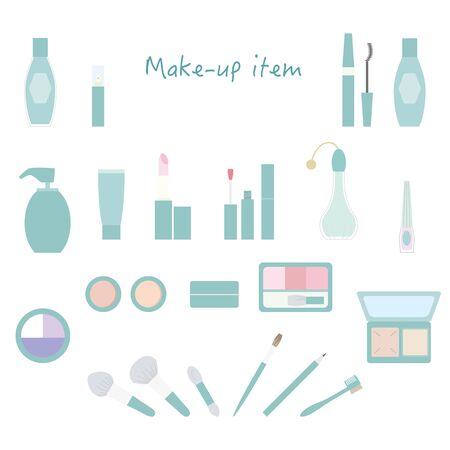 Makeup item icon set Color illustration without lines.