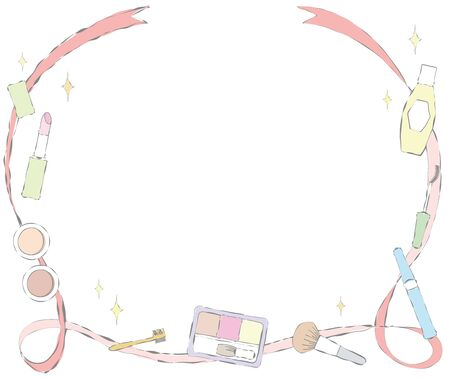 Makeup items and ribbon banner illustration. Stock Illustratie