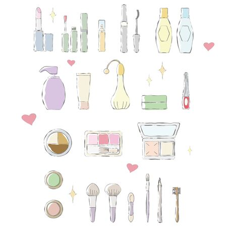 Color illustration of hand-drawn touch of makeup items. Stock Illustratie