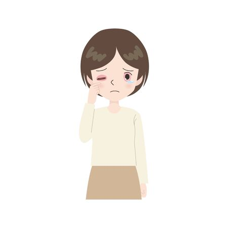 set of woman with allergies and itchy eyes.