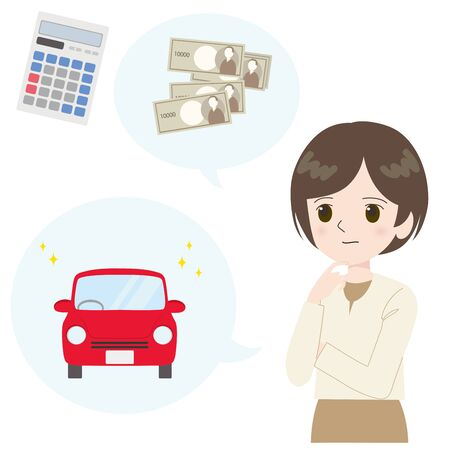 Illustration of a woman thinking about the cost of buying a car.