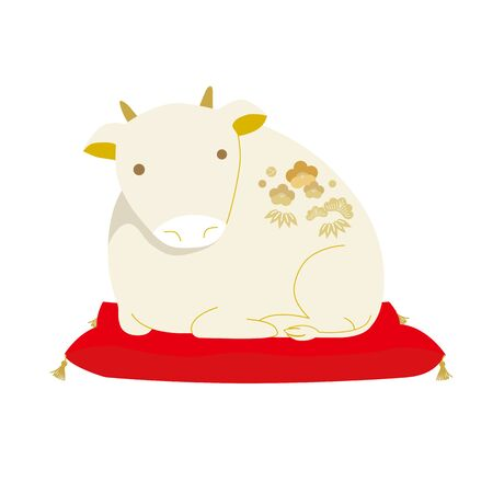 Vector illustration of a sideways cow lucky charm.