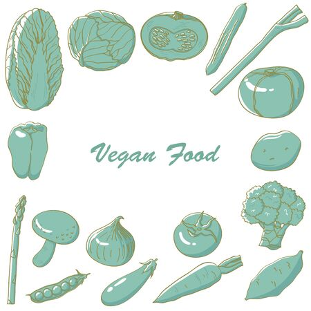 Frame illustration of shaded monochromatic vegetables. Ilustração