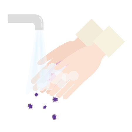 Illustration of washing away viruses on hands with soap.