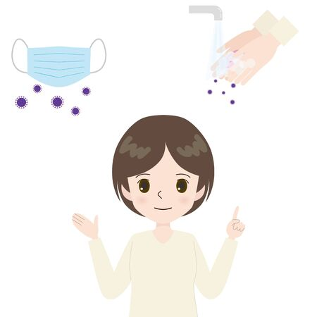 Illustration of a young woman introducing a mask and handwashing.