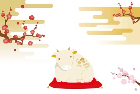 New year's card illustration with cow figurine and plum tree, Japanese pattern and haze background. Illustration
