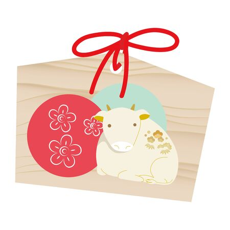 "vector illustration of an ""ema"" that writes a wish to be paid at a shrine with an ox illustration."