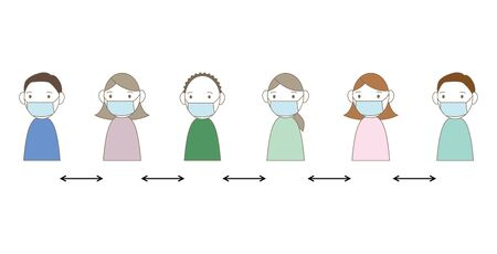 illustration of people lining up at a certain distance.