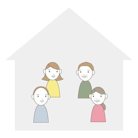 illustration of a family at home on a furlough.